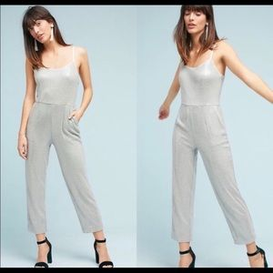 Anthropologie Silver Sequin Jumpsuit